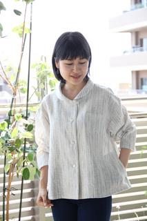 ショール襟JK夏絣白�@.JPG